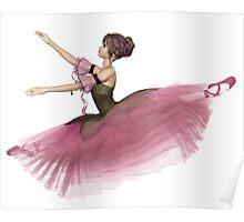 Pink Flower Ballerina Leaping Poster