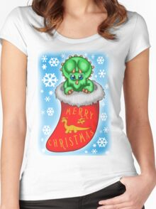 Christmas Triceratops Women's Fitted Scoop T-Shirt