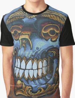 Graffiti Blue Skull Graphic T-Shirt