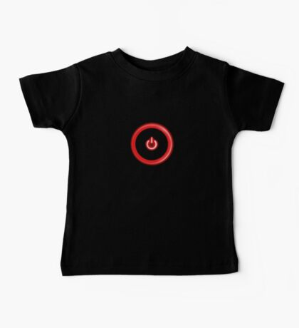 Red Power Button Baby Tee
