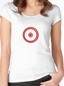 Red Power Button Women's Fitted Scoop T-Shirt