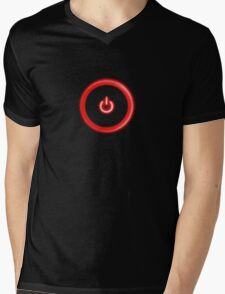 Red Power Button Mens V-Neck T-Shirt