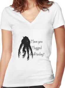 Have You Hugged a Wolf (with white background) Women's Fitted V-Neck T-Shirt