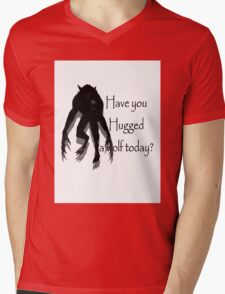 Have You Hugged a Wolf (with white background) Mens V-Neck T-Shirt