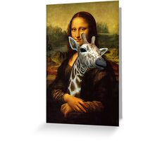 Mona Lisa Loves Giraffes Greeting Card