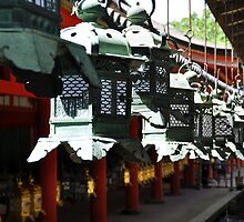 Lanterns at shrine in Nara Park by avresa