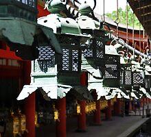 Lanterns at shrine in Nara Park by avresa