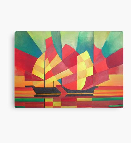 Cubist Abstract of Junk Sails and Ocean Skies Canvas Print