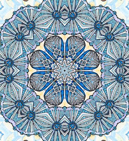 Blue Ice Fllowers Mandala Kaleidoscope Sticker