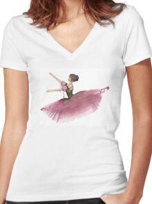 Pink Flower Ballerina Leaping Women's Fitted V-Neck T-Shirt