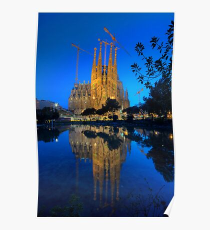 Sagrada Familia At Dusk Poster
