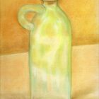 Glass bottle against a yellow wall by Arianey