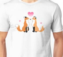 Valentines Day Foxes Unisex T-Shirt