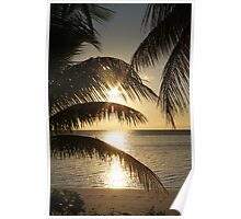 A Fijian Sunset Through The Palm Trees. Poster