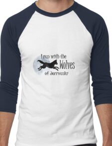 Running with the Wolves (with moon) Men's Baseball ¾ T-Shirt