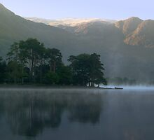 Boat in the Mist, Buttermere, Lake District by Jim Round