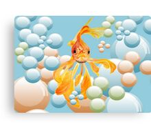Vermillion Goldfish Blowing Bubbles Canvas Print