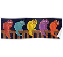 Fence Cats Poster