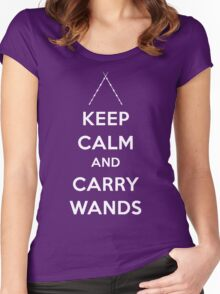 Keep Calm and Carry Wands Women's Fitted Scoop T-Shirt