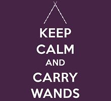 Keep Calm and Carry Wands Womens T-Shirt