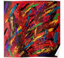 Abstract multi-colored brush strokes Poster