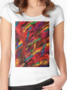Abstract multi-colored brush strokes Women's Fitted Scoop T-Shirt
