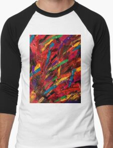 Abstract multi-colored brush strokes Men's Baseball ¾ T-Shirt