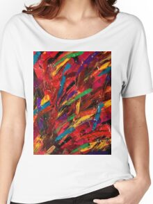 Abstract multi-colored brush strokes Women's Relaxed Fit T-Shirt