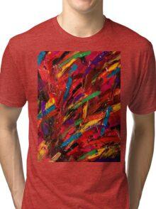 Abstract multi-colored brush strokes Tri-blend T-Shirt
