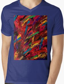 Abstract multi-colored brush strokes Mens V-Neck T-Shirt