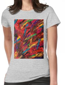 Abstract multi-colored brush strokes Womens Fitted T-Shirt
