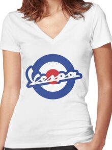Vespa script mod symbol Women's Fitted V-Neck T-Shirt