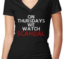 On Thursdays We Watch #Scandal Women's Fitted V-Neck T-Shirt