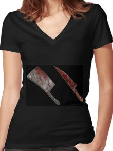 Bloody tools of death Women's Fitted V-Neck T-Shirt