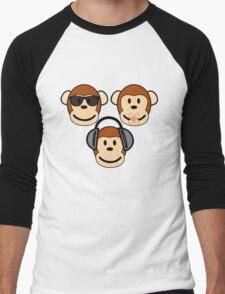 Illustration of Cartoon Three Monkeys - See, Hear, Speak No Evil Men's Baseball ¾ T-Shirt