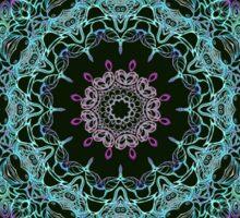 Abstract fantastic plant kaleidoscope mandala on dark green background Sticker