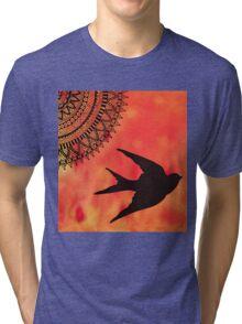 Mandala Bird Sunset Abstract Tri-blend T-Shirt