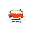Red VW Bus Van Gone Surfing  by Frank Schuster