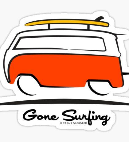 Red VW Bus Van Gone Surfing  Sticker