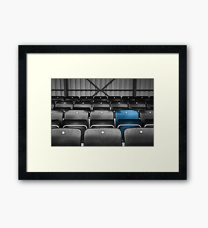 Blue Seat in the Football Stand Framed Print
