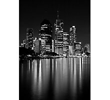 Black and White City Lights Photographic Print