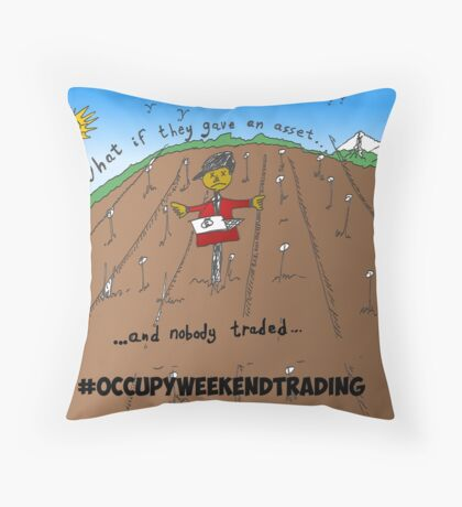 Binary Options News Carticature Occupy Weekend Trading Throw Pillow