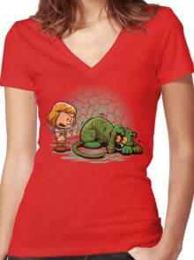 Afraid of Your Own Shadow Women's Fitted V-Neck T-Shirt