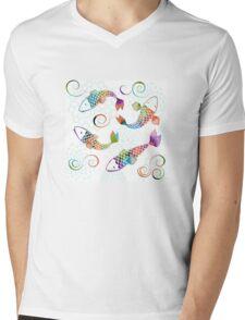 Peaceful Kois Mens V-Neck T-Shirt