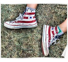 Red Striped Chuck Taylors Poster