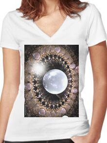 LIGHT ON PLANETS 4 Women's Fitted V-Neck T-Shirt