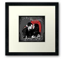 """Un Fou, Passionné, l'Amour Vrai!""- One Crazy, Passionate, True Love! (grey) Framed Print"