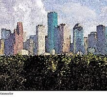 Houston Downtown - Watercolor by Fred Jinkins