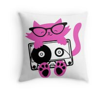 Cassette Kitten Sticker Throw Pillow