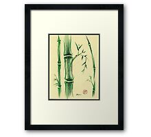 Happiness - Zen bamboo prisma pencil and watercolor drawing Framed Print